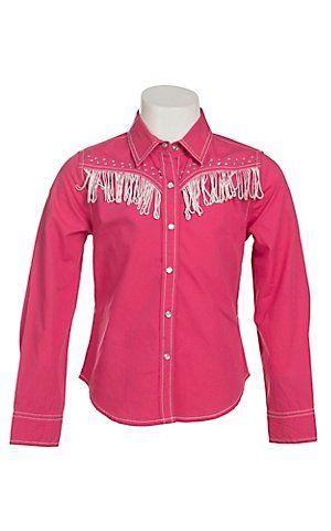 Cumberland Outfitters Girl's Fuchsia with White Fringe & Rhinestones Long Sleeve Western Shirt | Cavender's