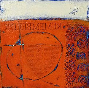 "REMEMBERING- Abstract Non Objective Painting by Cristina Del Sol Mixed Media & Collage ~ 10"" x 10"""