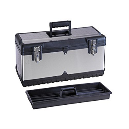 G_Forge HL-3030 22. 5 inch Stainless Steel Tool Box with Foldable Handle & Inside Tray, Multicolor