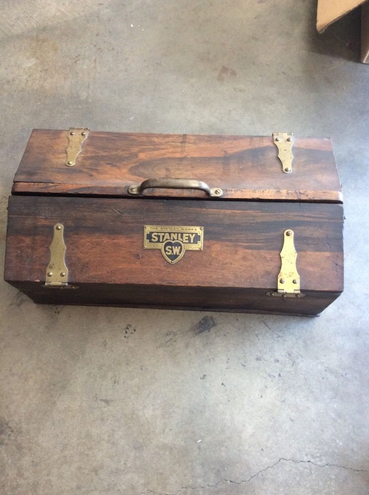 Antique Vtg Stanley Sweetheart Tools Wooden Tool Box W Brass Hardware Ebay Wooden Tool Boxes Old Tool Boxes Tool Box