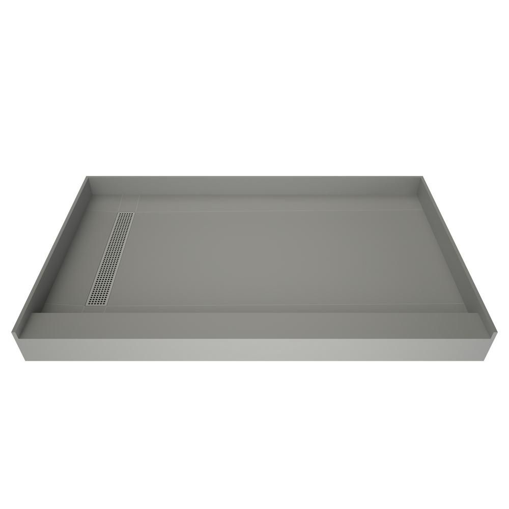Tile Redi 42 In X 60 In Single Threshold Shower Base In Grey