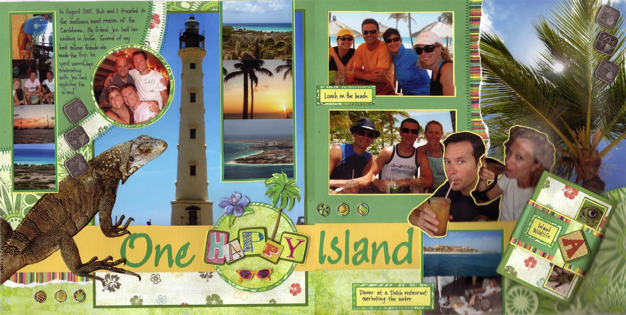 Scrapbook ideas niagara falls - One Happy Island Scrapbook Layout Scrapbook Scrapbooking Aruba Caribbean