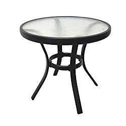 Outdoor Side Table Black Steel Small Round Tempered Gl Top Patio Yard Or Porch End