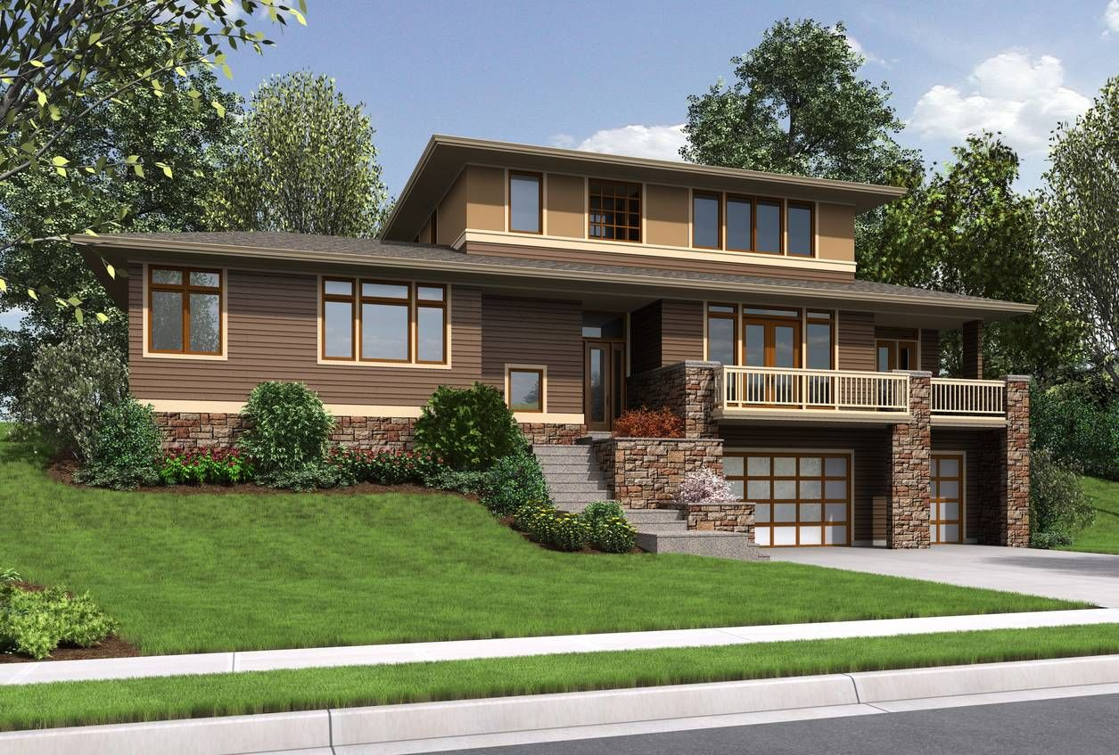 nice prairie style home with garage below the house dream house