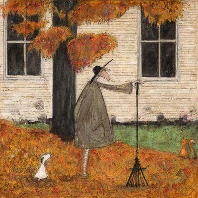 DOG ART PRINT Following the Pumpkin Sam Toft