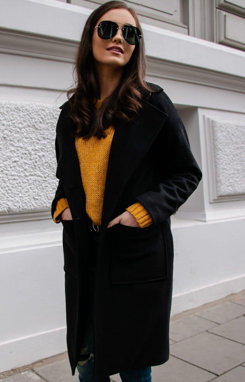 Welniany Plaszcz Czarny Alpaka P013 Clothes Outfits Fashion