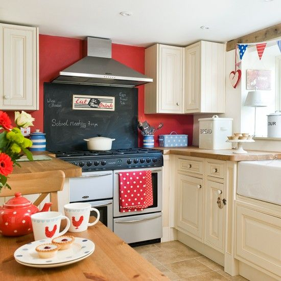 WhiteRed Black Cottage Blue Country Kitchen Red Kitchen And - Country kitchen splashback ideas