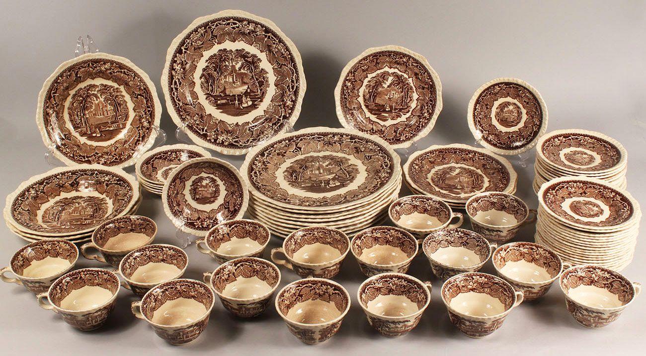 masons vista brown   262 Masonu0027s Vista Dinnerware in Brown 75 pcs   Case Antiques & masons vista brown   262: Masonu0027s Vista Dinnerware in Brown 75 pcs ...
