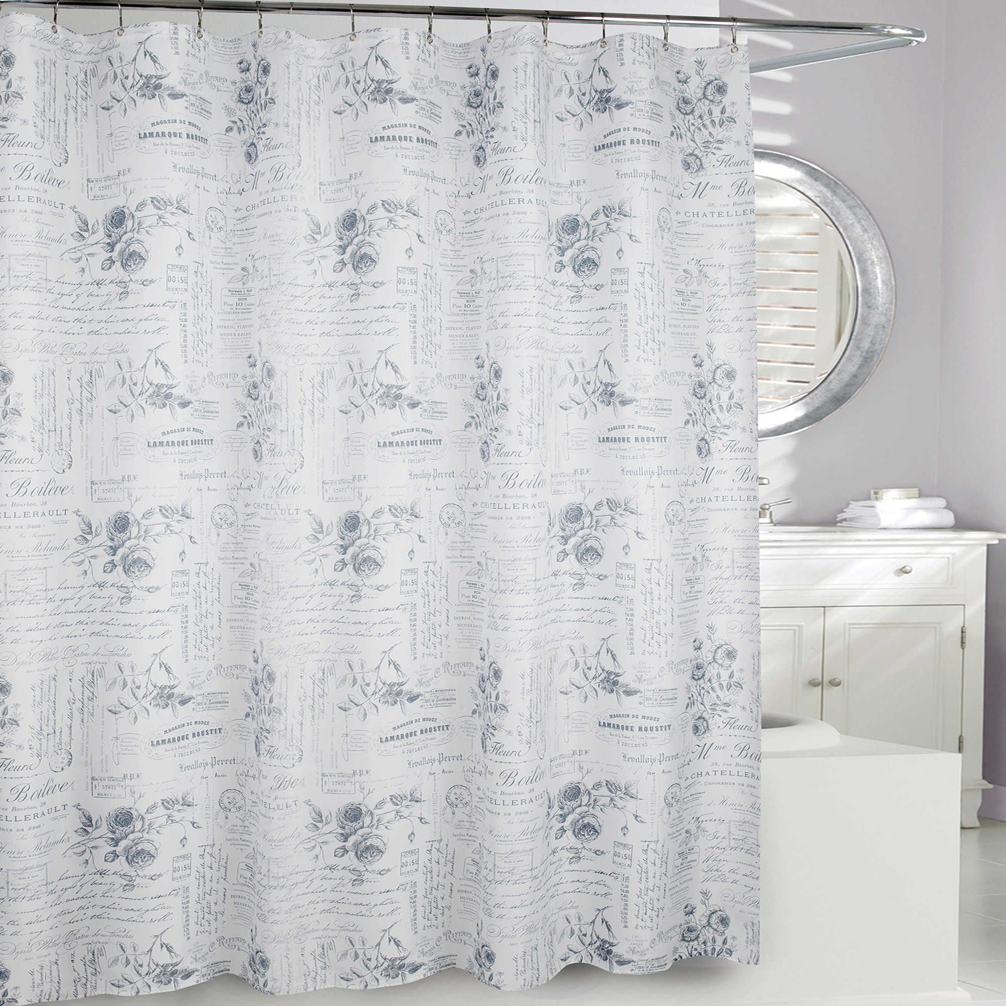 Moda at Home Enchanted Fabric Shower Curtain in Grey www