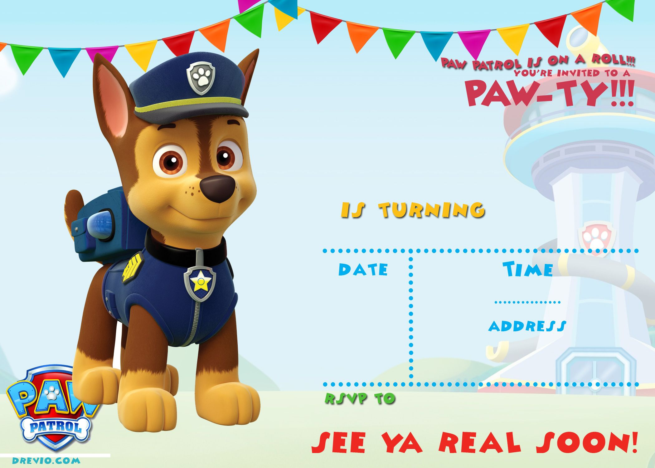 free printable paw patrol invitation