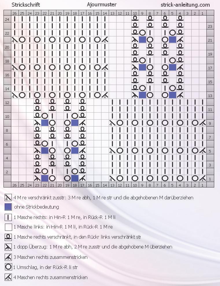 Ajourmuster schrift | Вязание | Pinterest | Muster, Strickmuster und ...