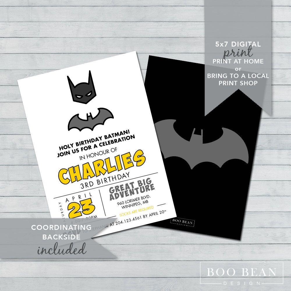 Batman Birthday Invitation | Printable Invitation | Superhero ...
