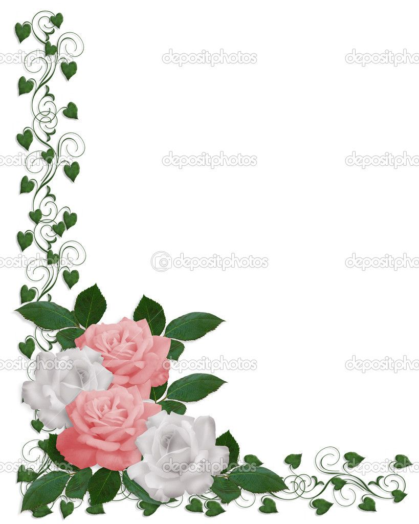 Pink Flower Border Images Of Roses Pink White Wedding Invitation