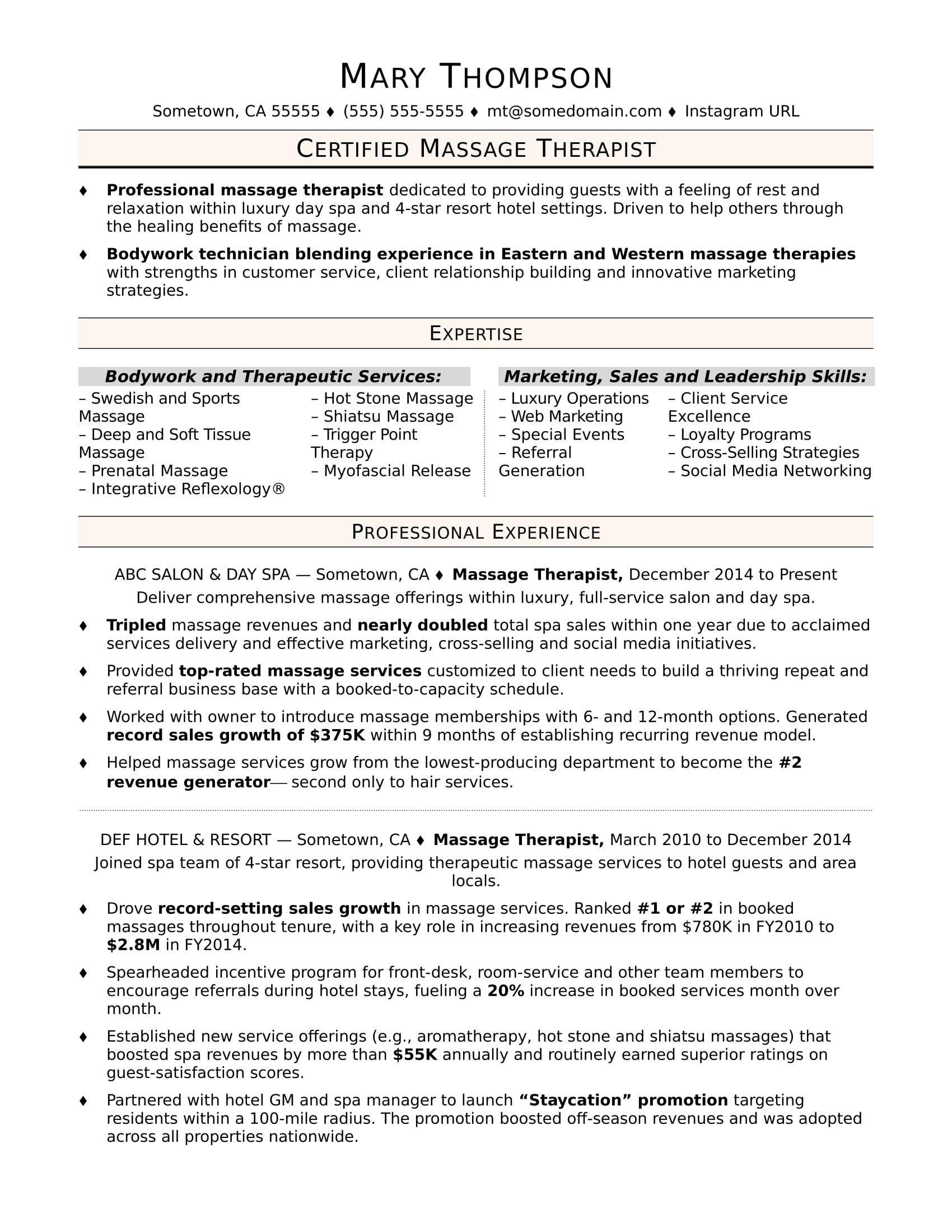 massage therapist resume cover letter