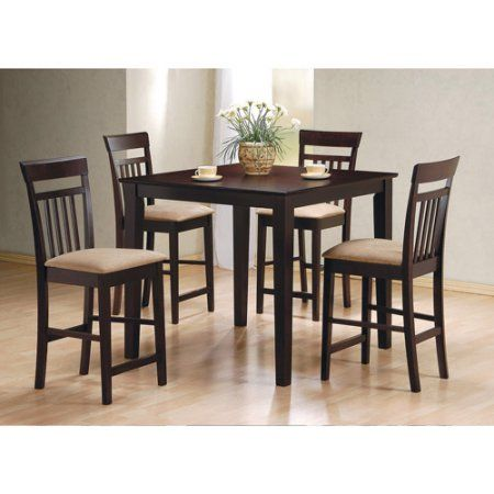 Coaster Cappuccino Counter Height 5 Piece Dinette Set Walmart Com Counter Height Dining Table Set Kitchen Table Settings Counter Height Dining Sets