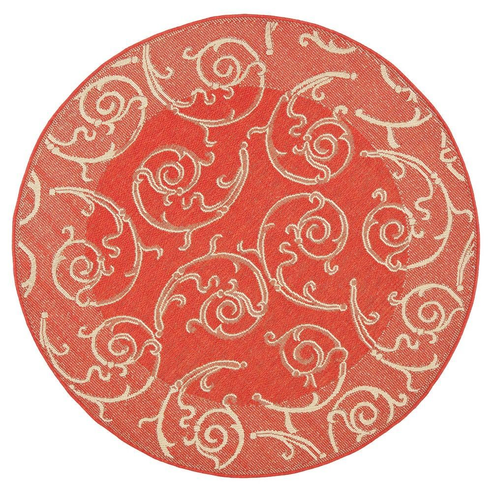 Pembrokeshire Round 6u00277 Outdoor Patio Rug   Red / Natural   Safavieh, Red