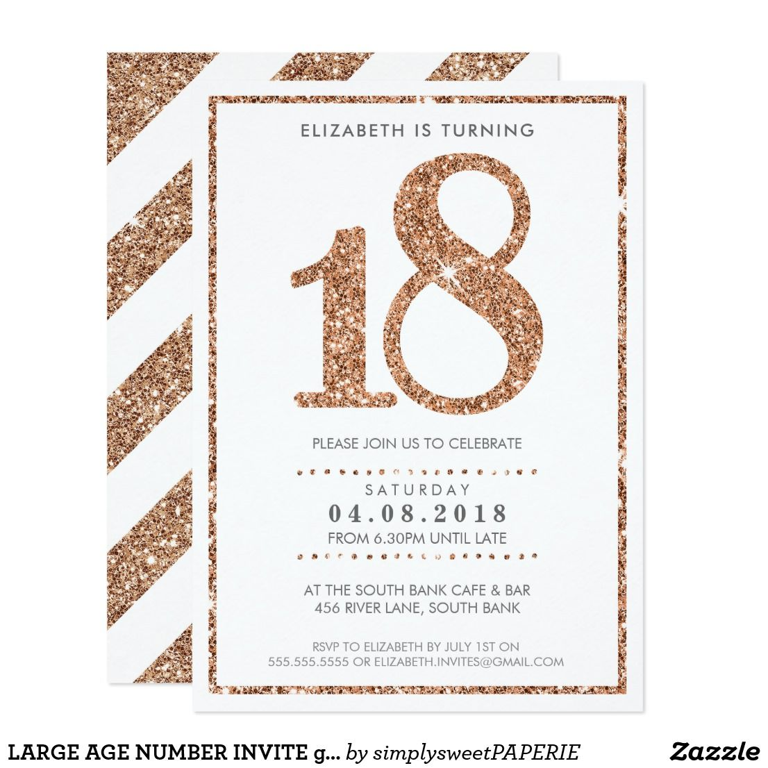 Large Age Number Invite Glam 18 Rose Gold Glitter Zazzle Com In 2021 Invitations Birthday Ideas For Her Birthday Invitations Girl