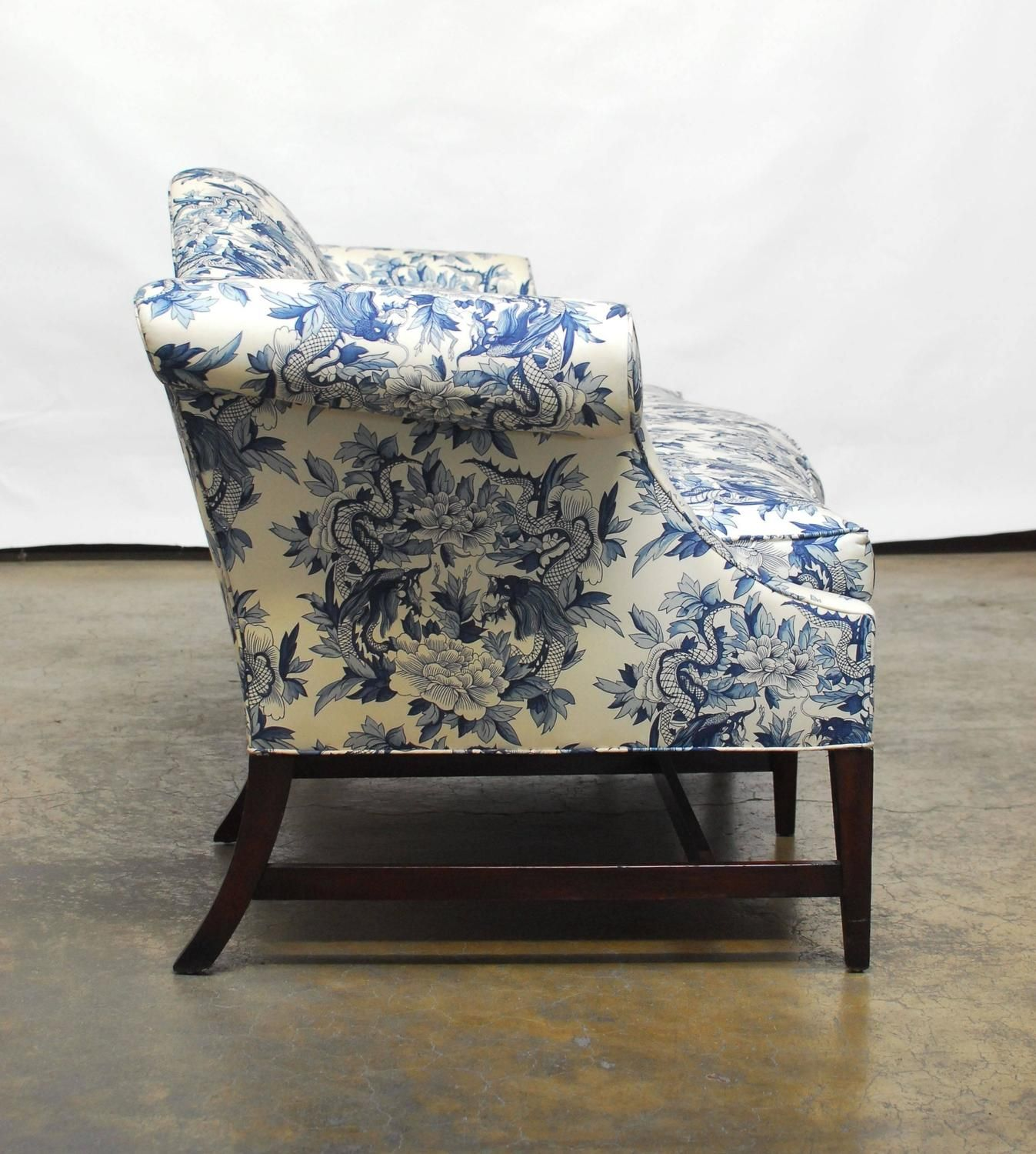 Chippendale Style Camelback Sofa With Chinoiserie Dragon Upholstery