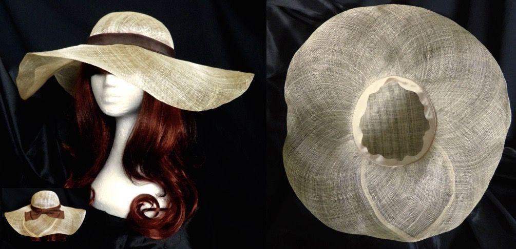 271ac1512ec04 1950 s Original Vintage 50s Pin Up Wide Brimmed Fine Straw Sun Hat Brown  Bow Festival Women S 21