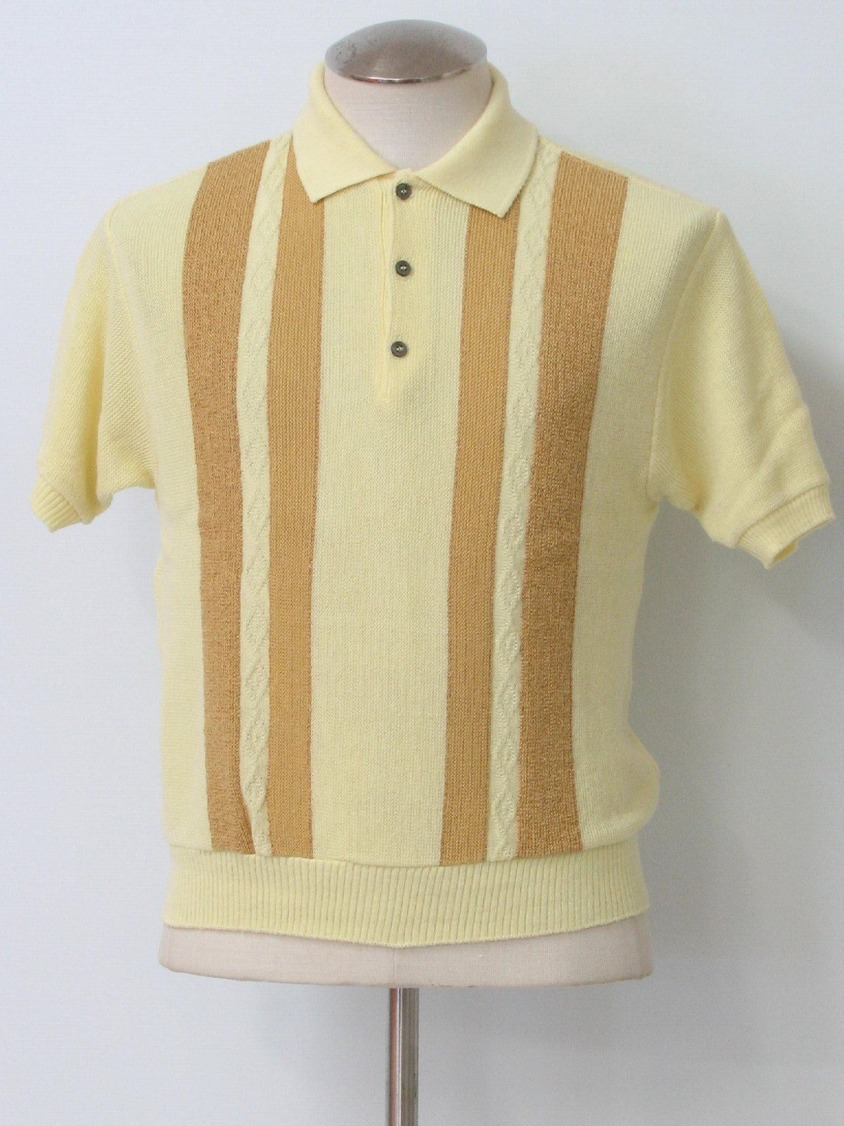 5199275739a4 60s -Sears- Mens soft yellow and golden-tan acrylic short sleeve pullover mod  knit shirt.