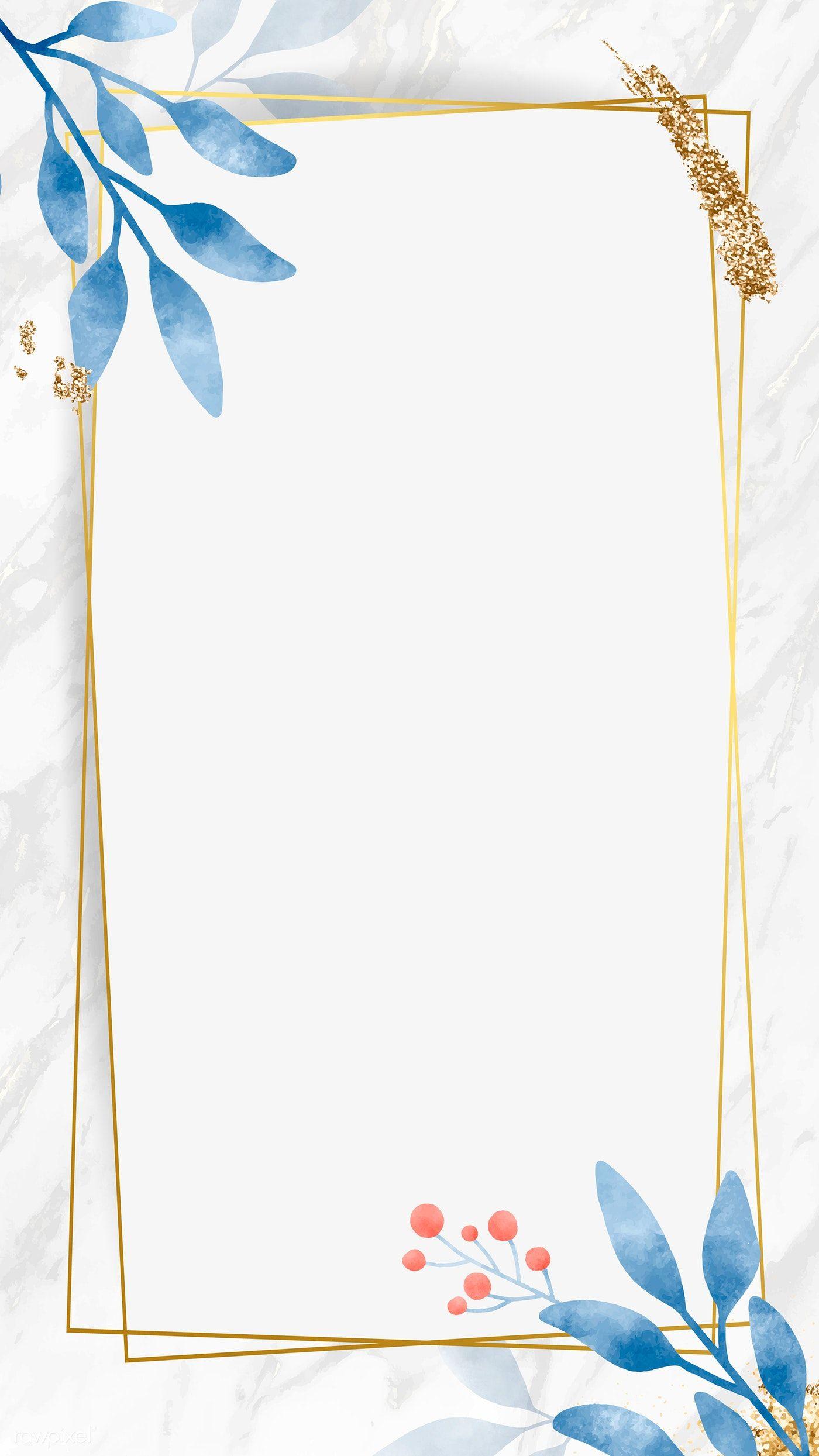 Download Premium Vector Of Watercolor Leafy Frame Mobile Phone Wallpaper Floral Border Design Flower Background Wallpaper Floral Frame Vector