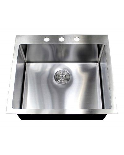 23 Inch Undermount Drop In Stainless Steel Single Bowl Kitchen