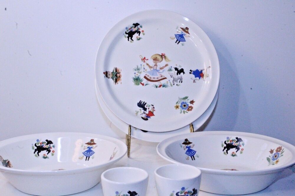 Mary Had A Little Lamb 8 Piece Set Arklow Ireland Collectable Bowls Mug Plates Arklow Mugs Plates Childrens Dishes