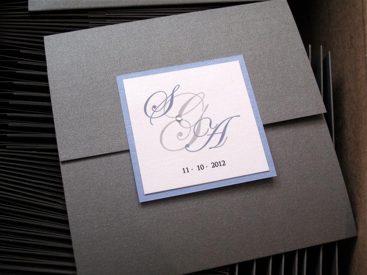 Square 3 fold Wedding Invitation Custom Front Logo with Diamond