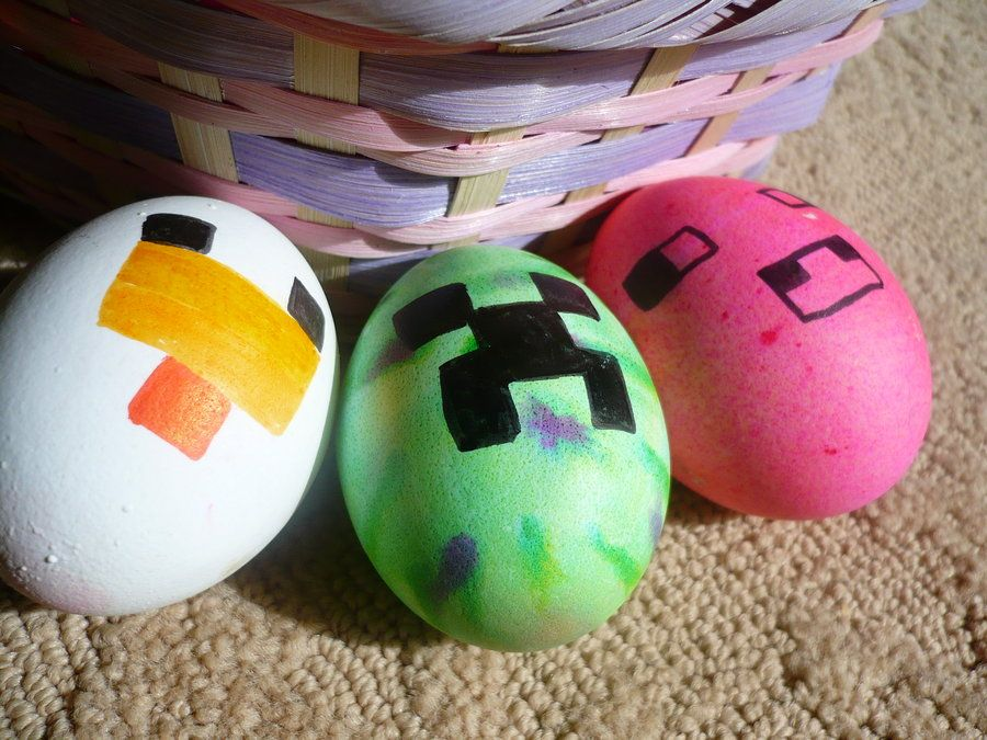 Minecraft Easter Egg Idea Going To Have To Remember To Pick Up A Black Food Coloring Pen Minecraft Easter Eggs Easter Egg Designs Easter Fun