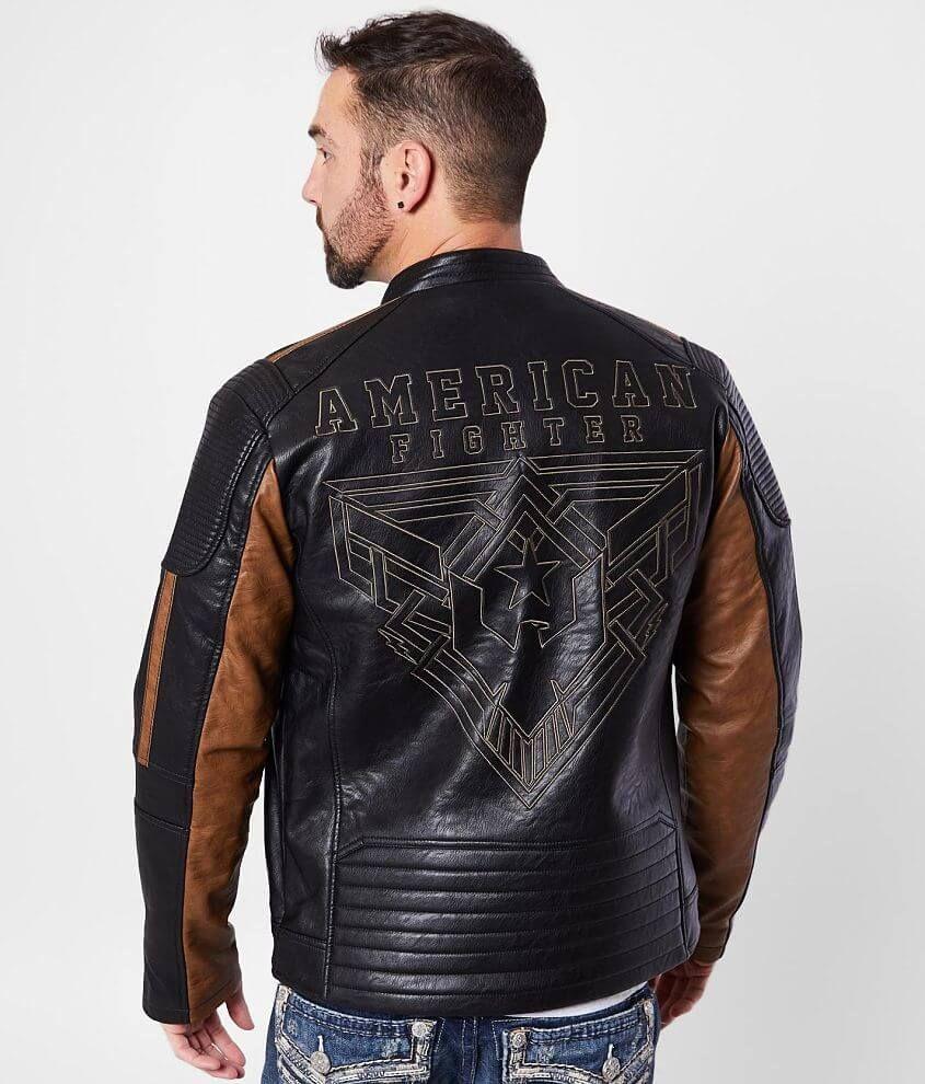 American Fighter Density Faux Leather Jacket Men S Coats Jackets In Black Brown Buckle Faux Leather Jacket Men Leather Jacket Men Leather Jacket [ 990 x 845 Pixel ]
