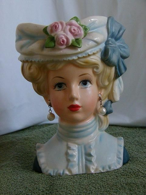Vintage Inarco Lady Head Vase E6106 Big Bluewhite Hat W3 Pink