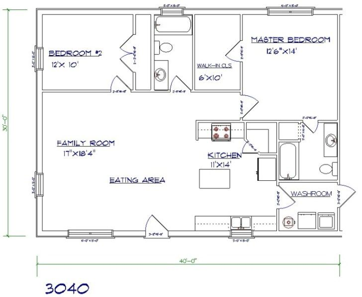 Barndominium Floor Plan 2 Bedroom 2 Bathroom 30x40 Barndominium