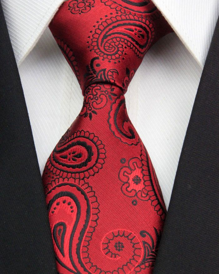 New Classic Paisleys Red Black JACQUARD WOVEN 100/% Silk Men/'s Tie Necktie