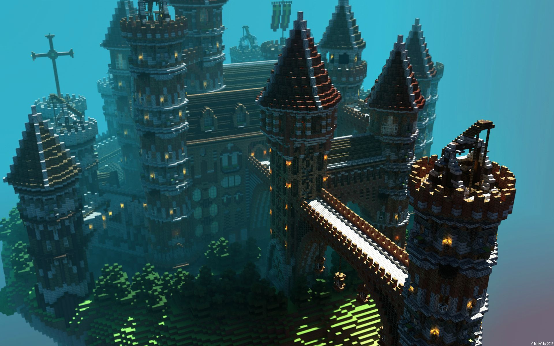 floating minecraft island castle   minecraft   pinterest