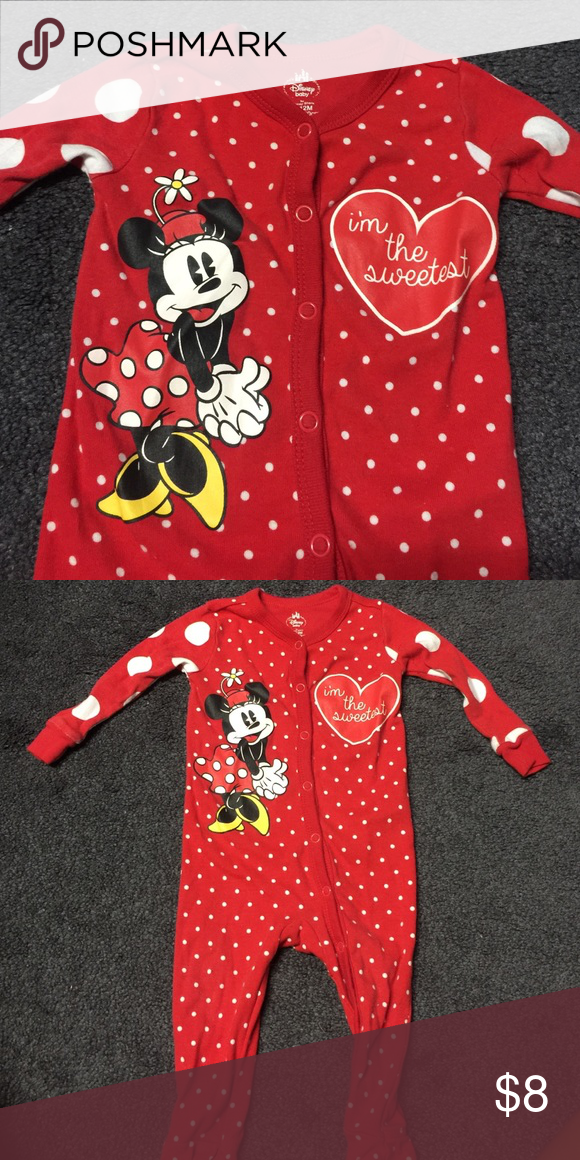 5626265db Minnie Mouse sleeping onesie Cute Minnie footsie pjs. Size is 9-12 months  but fits like 6-9months Disney Pajamas