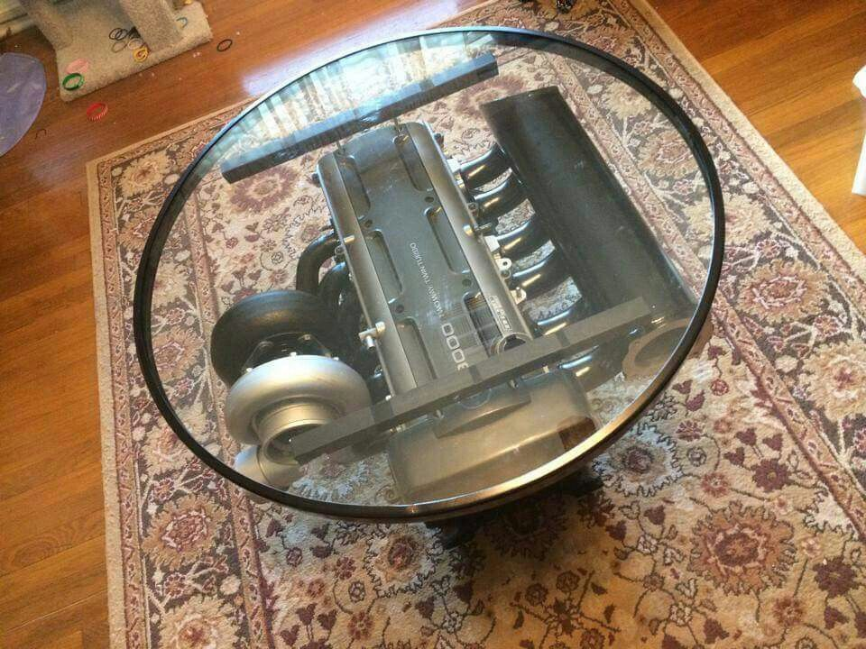Turbo straight six straight 6 i6 glass top coffee table for Man cave coffee table ideas