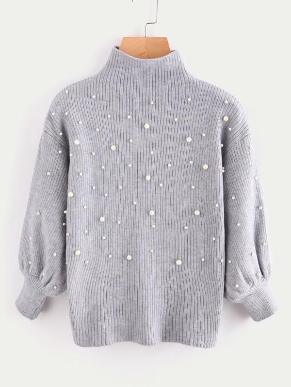 Turtleneck Beads Hollow Out Women Pullover Oversized Sweater