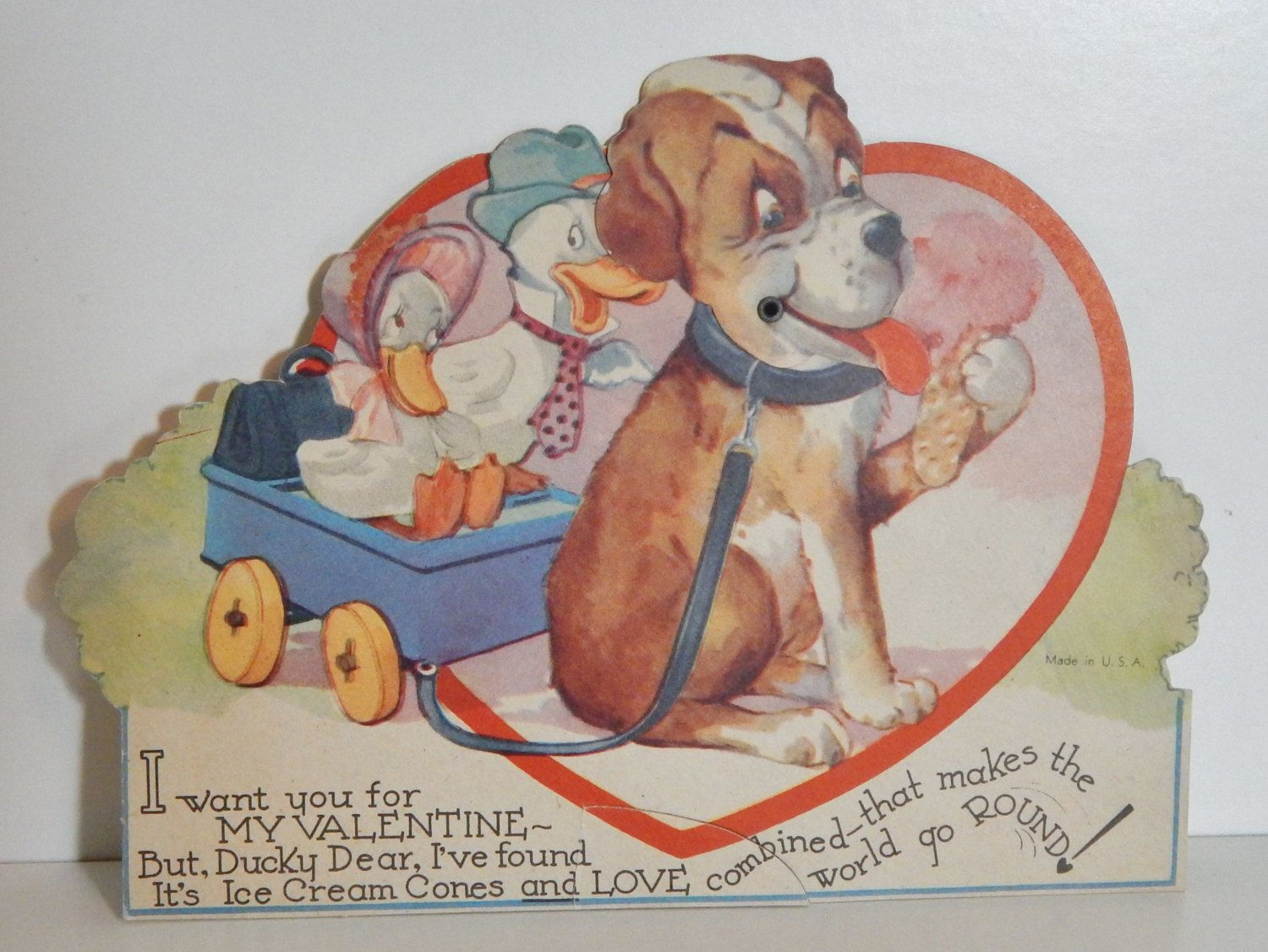 Vintage valentine articulated greeting card 1930s ephemera duck vintage valentine articulated greeting card 1930s ephemera duck couple moving head dog eating ice cream vintage kristyandbryce Image collections