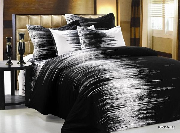 BlackWhite 6pc FullQueen Size Bedding Ensemble a Modern