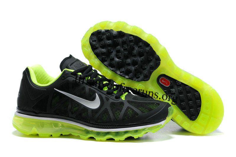 Mens Nike Air Max 2011 Black/Metallic Cool Grey/Volt Sneakers