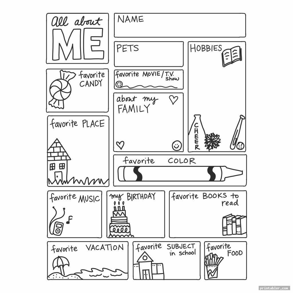 Cute All About Me Printable Template