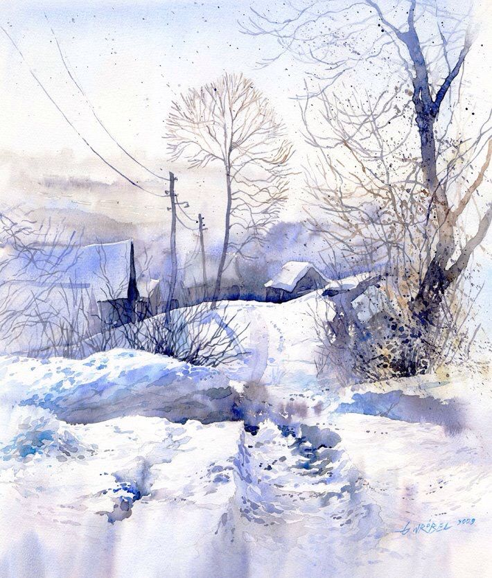 Pin By Ghaida Mb On Watercolor Winter Painting Winter
