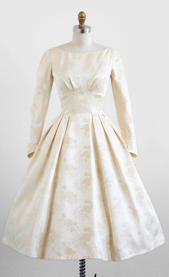vintage 1950s cream damask wedding dress. | wedding dress tea length ...