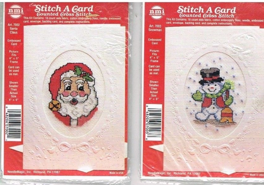 cross stitch a card kit kits santa snowman 2 cards unopened needle magic 18 aida - Santa Snowman 2