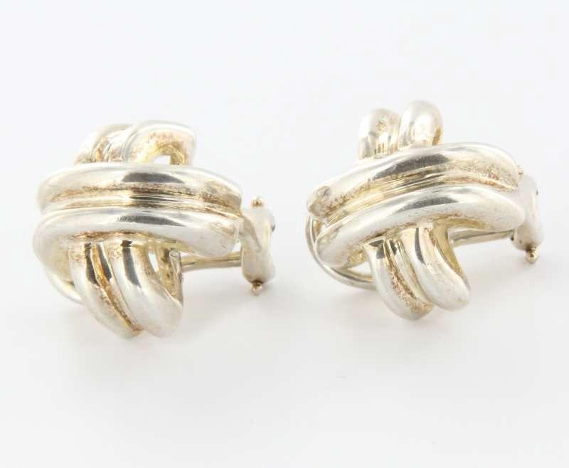Vintage Tiffany Co Sterling Silver Cross Clip Earrings Estate Designer Jewelry 389