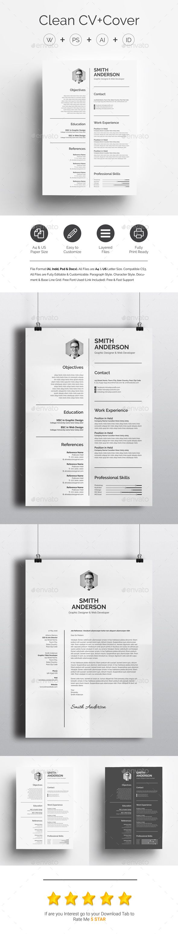 Clean CV+Cover Template PSD, Vector EPS, InDesign INDD, AI ...