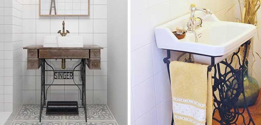 Ideas de lavabos originales para el baño | Máquinas de coser, Lavabo ...
