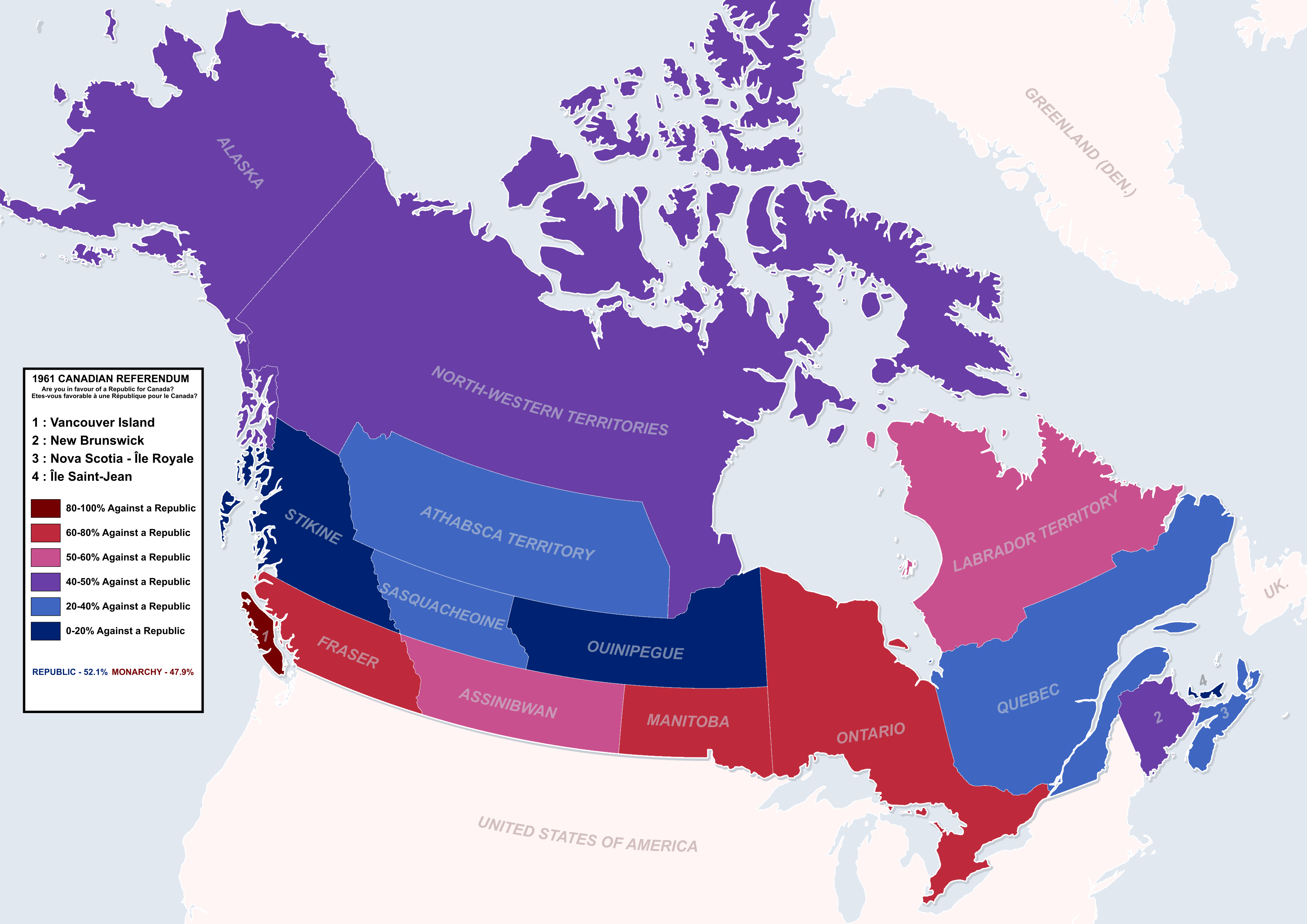 English Speaking Canada Map 1961 Canadian Republic Referendum   Canada with equal French and