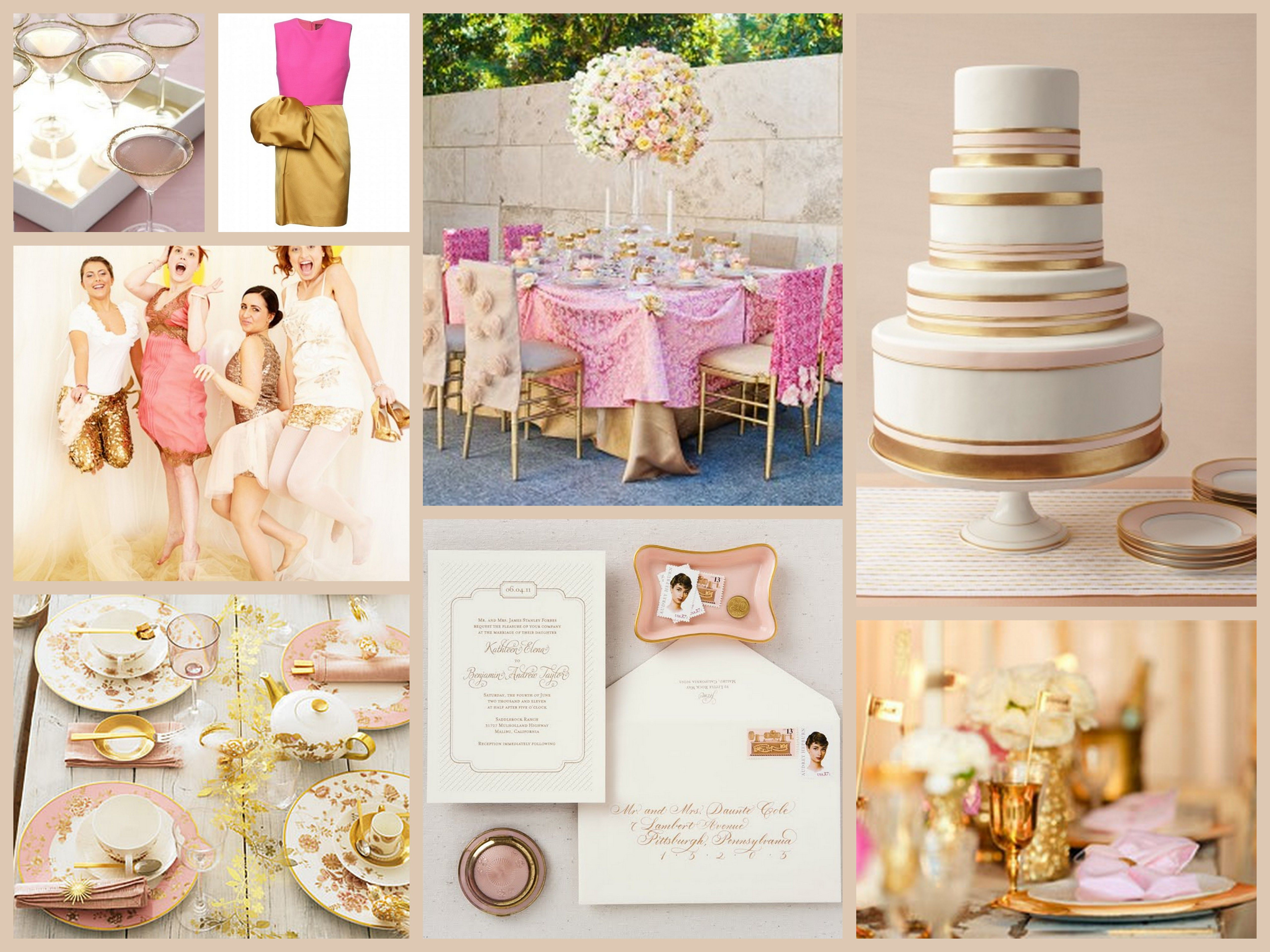 Glitzy Gold Pink Wedding Themewedding
