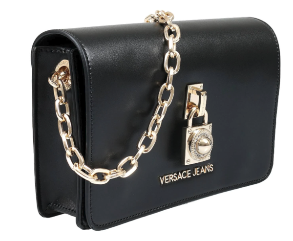 e7f8ba5542 Versace Jeans Shoulder Handbag In Black With Gold Padlock And Chain Strap -  E1VSBBG1 70779